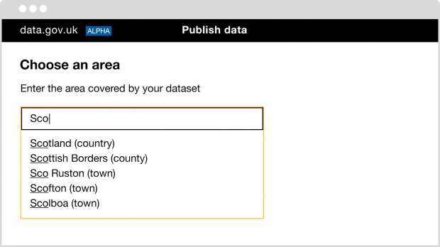 New autocomplete functionality to help users adding the location for their dataset