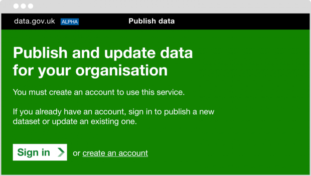 New landing page to publish and update data for organisations